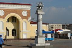 Евпатория. Вокзал. Памятник Рождение Керкинитиды