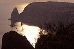 Крым лето море закат на мысе Фиолент