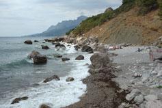 Береговое, пляж, вид на мыс Гусиный
