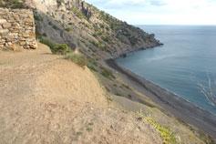 Вид с обрыва у Кутлакской крепости на мыс Чикен